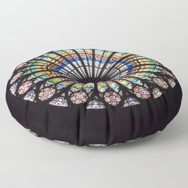 Stained glass cathedral rosette Floor Pillow