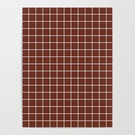 Liver (organ) - brown color - White Lines Grid Pattern Poster