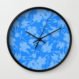 Forget-Me-Not Flowers in Blue Wall Clock