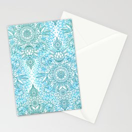 Turquoise Blue, Teal & White Protea Doodle Pattern Stationery Cards
