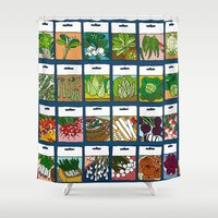vegetable Shower Curtains featuring Vegetable Seeds by La Maison du Lapino