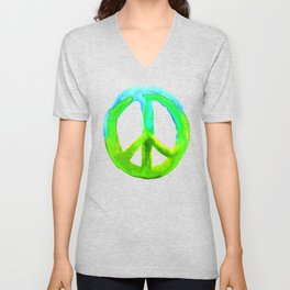 Watercolor Tie Dye Peace Sign Turquoise Lime on White Unisex V-Neck