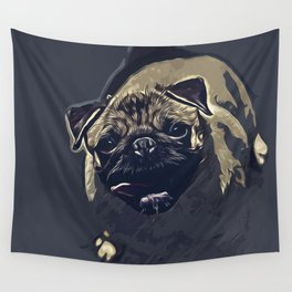 hungry pug dog vector art late night Wall Tapestry