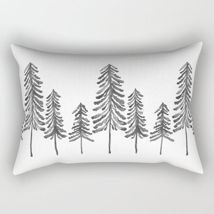 Pine Trees – Black Ink Rectangular Pillow