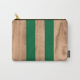 Striped Wood Grain Design - Green #319 Carry-All Pouch