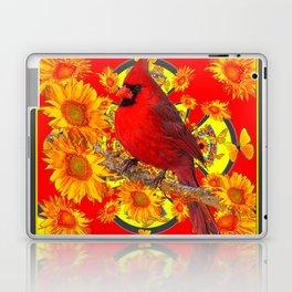 RED CARDINAL SUNFLOWERS ON CREAM ART Laptop & iPad Skin