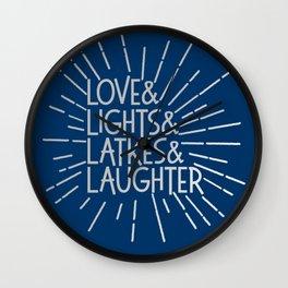 LOVE & LIGHTS & LATKES & LAUGHTER Hanukkah ampersand design blue silver Wall Clock