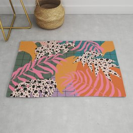 Jungle Grid and color blobs Rug