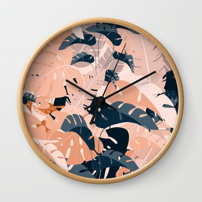 Monsteras in sienna blue Wall Clock