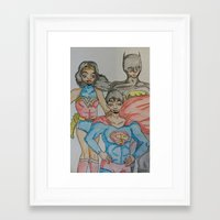 dc comics Framed Art Prints featuring DC: Trinity by aka-noodle