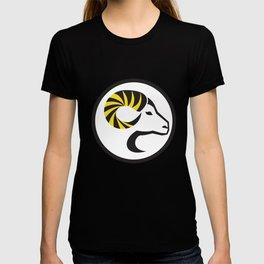 Dall Sheep Ram Full Curl Horn Circle Retro T-shirt