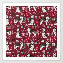 Alaskan Malamute dog christmas pattern candy canes christmas presents Art Print