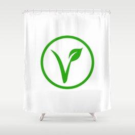 Universal vegetarian symbol- The V-label- V with a leaf. Vegetarian Shower Curtain