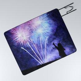 Blue and pink fireworks Picnic Blanket