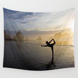 Yoga at Shi Shi Beach, Washington Color Wall Tapestry