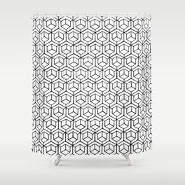 Hand Drawn Hypercube Shower Curtain
