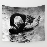 black swan Wall Tapestries featuring Black Swan by CrypticFragments Design