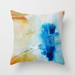 Blue abstract print Throw Pillow