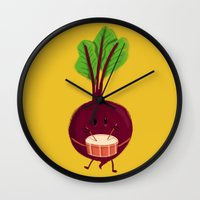 drum Wall Clocks featuring Beet's drum beat by Picomodi