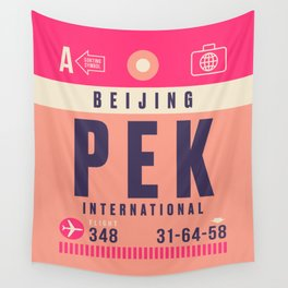 Retro Airline Luggage Tag - PEK Beijing Wall Tapestry