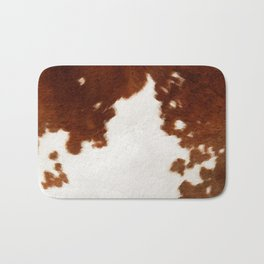 brown cowhide watercolor Bath Mat