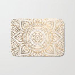 Gold Mandala Pattern Illustration With White Shimmer Bath Mat