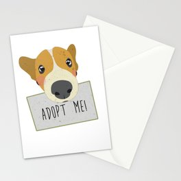 Adopt A Shelter Dog Puppy Face Holding Adopt Me Sign Art Stationery Cards