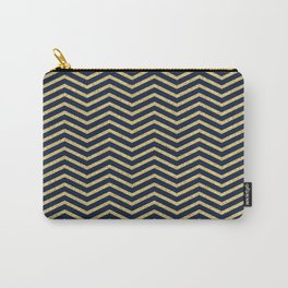 Gold And Navy Zig Zags Carry-All Pouch