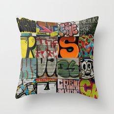 grafitti collage Throw Pillow