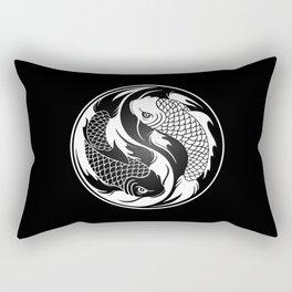 White and Black Yin Yang Koi Fish Rectangular Pillow