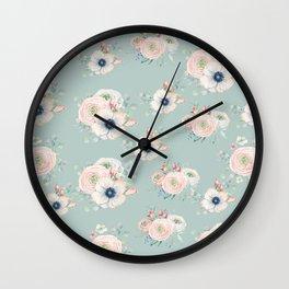 Dog Rose Pattern Mint Wall Clock