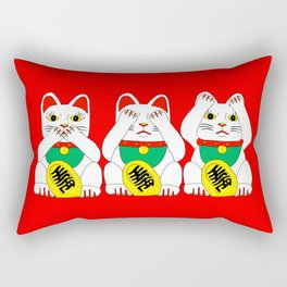 Three Wise Lucky Cats on Red Rectangular Pillow