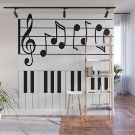 Music Notes with Piano Keyboard Wall Mural