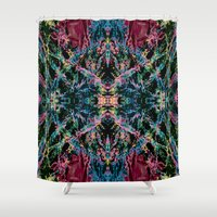 good vibes Shower Curtains featuring GOOD VIBES by Lara Gurney
