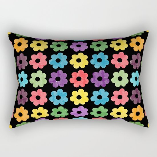 Colorful Floral Pattern V Rectangular Pillow