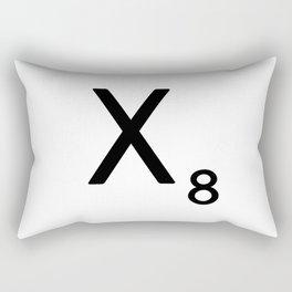 Letter X - Custom Scrabble Letter Tile Art - Scrabble X Initial Rectangular Pillow