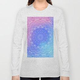 Beautiful colorful rainbow mandala Sophisticated ornament pink and violet cyan Long Sleeve T-shirt