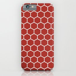 Honeycomb (White & Maroon Pattern) iPhone Case