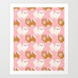 Cute Pomeranian Pattern Art Print
