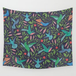 Hummingbirds and Hibiscus Tropical Pattern Wall Tapestry