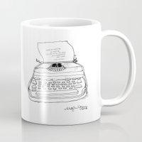 hemingway Mugs featuring Earnest Hemingway Writing on Typewriter by Meghann Chapman