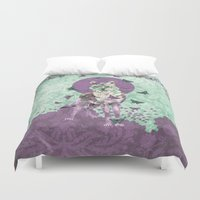 lady Duvet Covers featuring Lady Butterfly by Paula Belle Flores