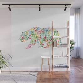 Bear Floral Watercolor Modern Art Wall Mural