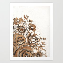 Coffee Art- Flowers Art Print