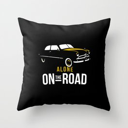 alone on the road Throw Pillow