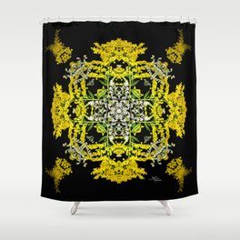 Crowning Goldenrod and Silver king Kaleidoscope Scanography Shower Curtain