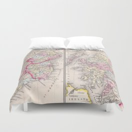 Vintage Map of Ireland and Scotland (1864) Duvet Cover