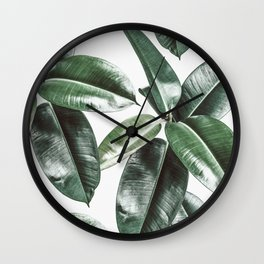 Tropical Leaves Pattern | Dark Green Leaves Photography Wall Clock