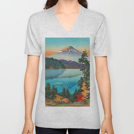 Tsuchiya Koitsu Vintage Japanese Woodblock Print Fall Autumn Mount Fuji Unisex V-Neck