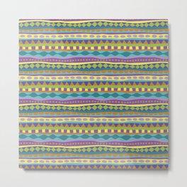 Stripey-Jardin Colors Metal Print